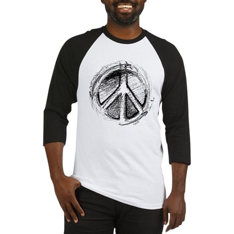 Urban Peace Sign Sketch Men's Baseball Jersey