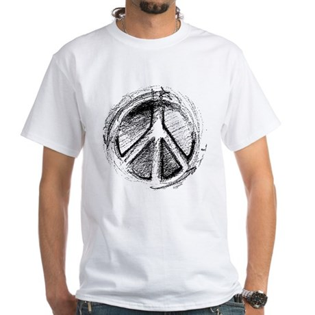 Urban Peace Sign Sketch Men's White T-Shirt