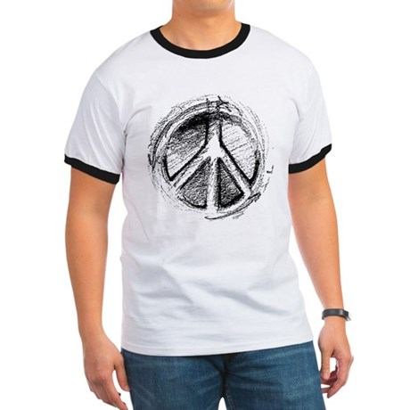 Urban Peace Sign Sketch Men's Ringer Tee