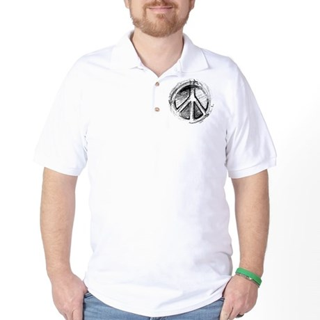 Urban Peace Sign Sketch Golf Shirt