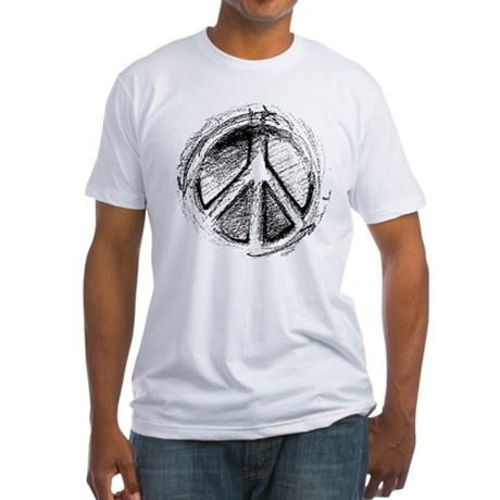 Urban Peace Sign Sketch Men's Fitted T-Shirt