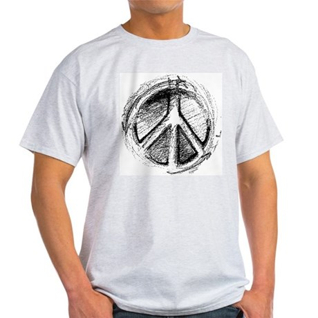 Urban Peace Sign Sketch Ash Grey T-Shirt Men's Light T-Shirt