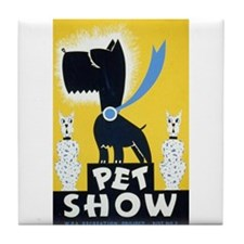 Pet Show Dogs Vintage WPA Art Tile Coaster