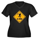 Bowl X-ing Women's Plus Size V-Neck Dark T-Shirt
