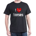 I Love Horses (Front) Black T-Shirt