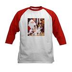 Sheltie Christmas with Santa Kids Baseball Jersey