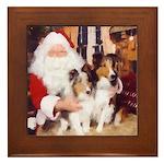 Sheltie Christmas with Santa Framed Tile