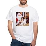 Sheltie Christmas with Santa White T-Shirt