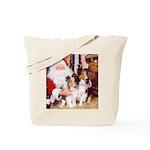 Sheltie Christmas with Santa Tote Bag