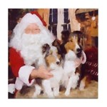 Sheltie Christmas with Santa Tile Coaster
