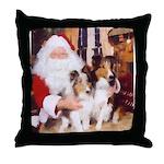 Sheltie Christmas with Santa Throw Pillow