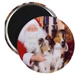 Sheltie Christmas with Santa Magnet
