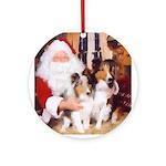 Sheltie Christmas with Santa Ornament (Round)
