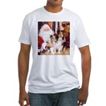 Sheltie Christmas with Santa Fitted T-Shirt