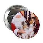 Sheltie Christmas with Santa Button