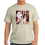 Sheltie Christmas with Santa Ash Grey T-Shirt