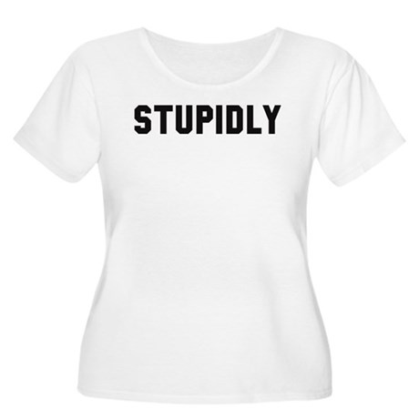 STUPIDLY Women's Plus Size Scoop Neck T-Shirt
