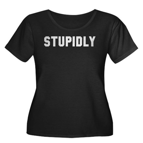 STUPIDLY Women's Plus Size Scoop Neck Dark T-Shirt