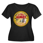 For Aimee Women's Plus Size Scoop Neck Dark T-Shir
