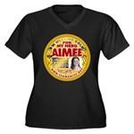 For Aimee Women's Plus Size V-Neck Dark T-Shirt