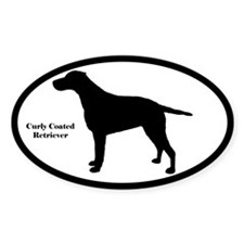 Curly Coated Retriever Silhouette Oval Decal