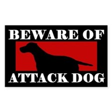 Beware Attack Dog Curly Coated Retriever Decal