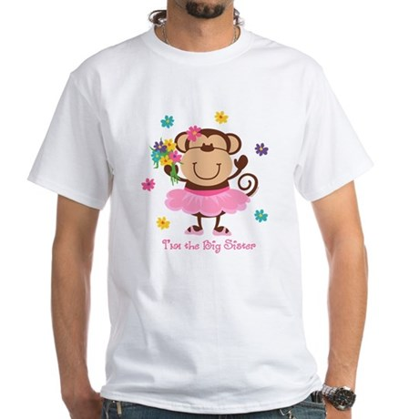 Monkey Big Sister White T-Shirt