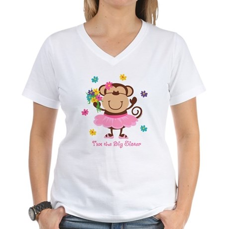 Monkey Big Sister Women's V-Neck T-Shirt