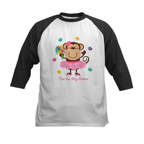 Monkey Big Sister Kids Baseball Jersey