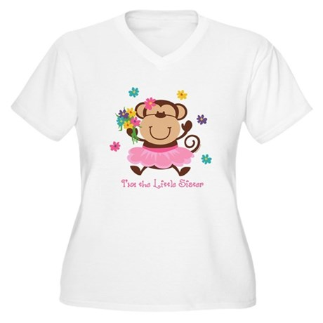 Monkey Little Sister Women's Plus Size V-Neck T-Sh