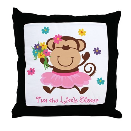 Monkey Little Sister Throw Pillow