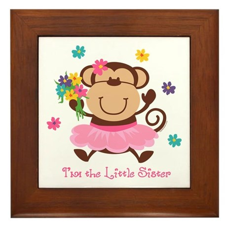 Monkey Little Sister Framed Tile