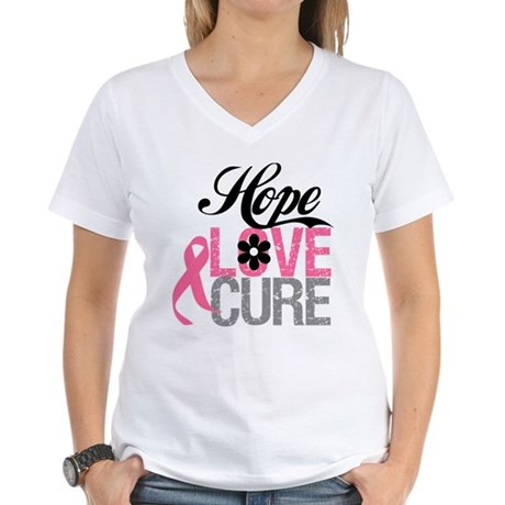 Breast Cancer HOPE CURE Women's V-Neck T-Shirt