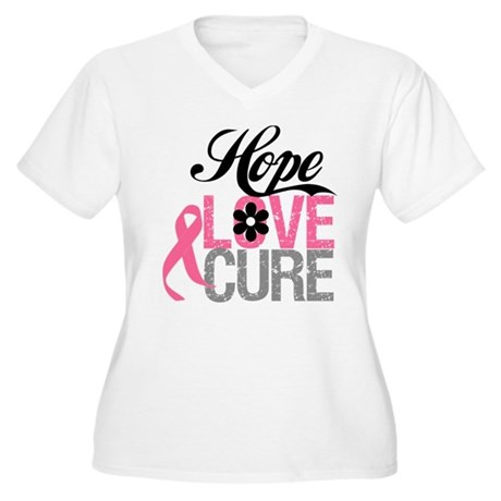 Breast Cancer HOPE CURE Women's Plus Size V-Neck T