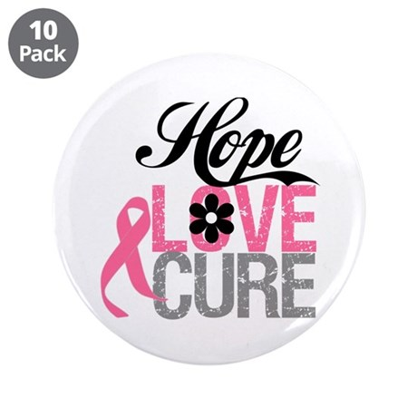 "Breast Cancer HOPE CURE 3.5"" Button (10 pack)"