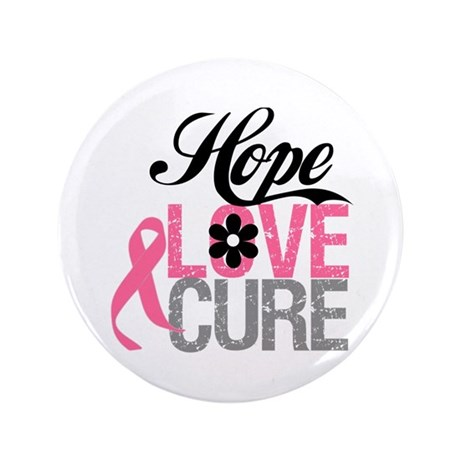 "Breast Cancer HOPE CURE 3.5"" Button"