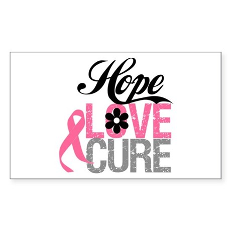 Breast Cancer HOPE CURE Rectangle Sticker 50 pk)