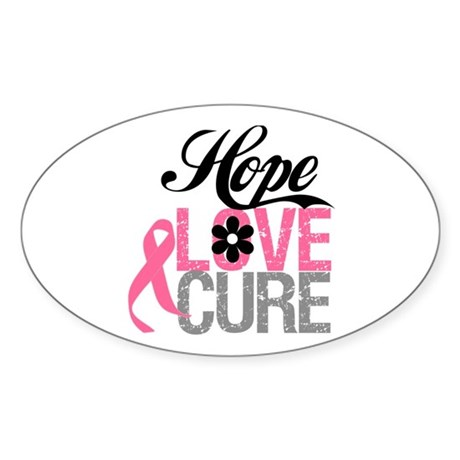 Breast Cancer HOPE CURE Oval Sticker (10 pk)