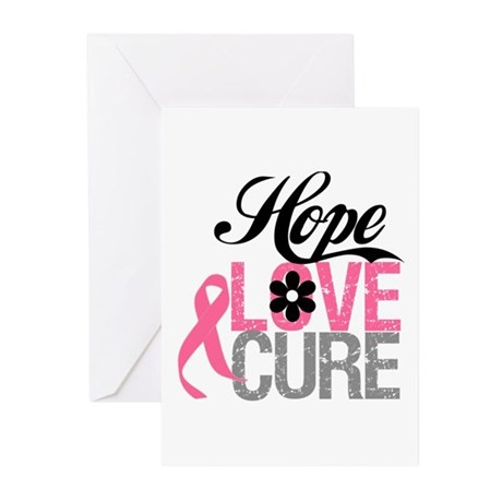 Breast Cancer HOPE CURE Greeting Cards (Pk of 10)