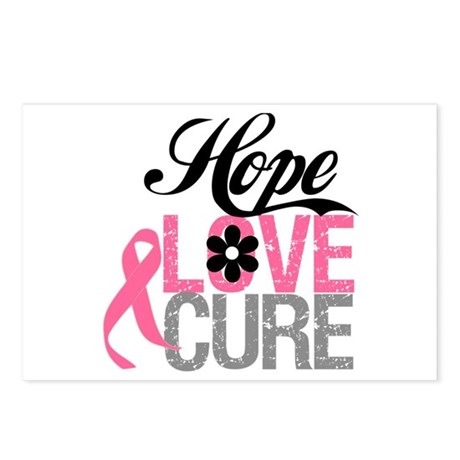 Breast Cancer HOPE CURE Postcards (Package of 8)