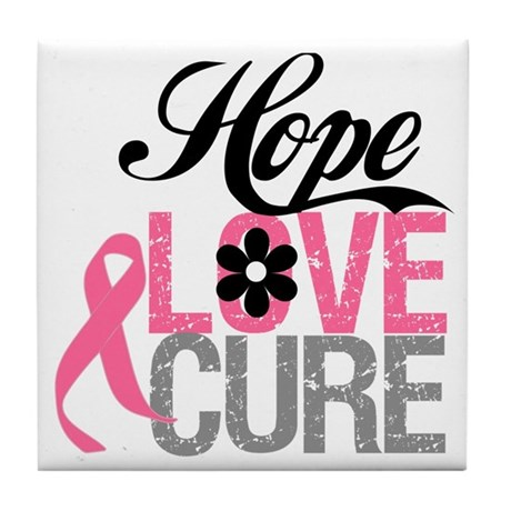 Breast Cancer HOPE CURE Tile Coaster