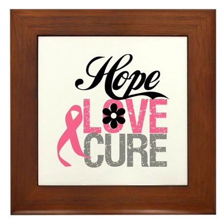 Breast Cancer HOPE CURE Framed Tile