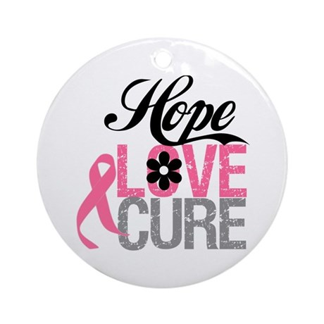 Breast Cancer HOPE CURE Ornament (Round)