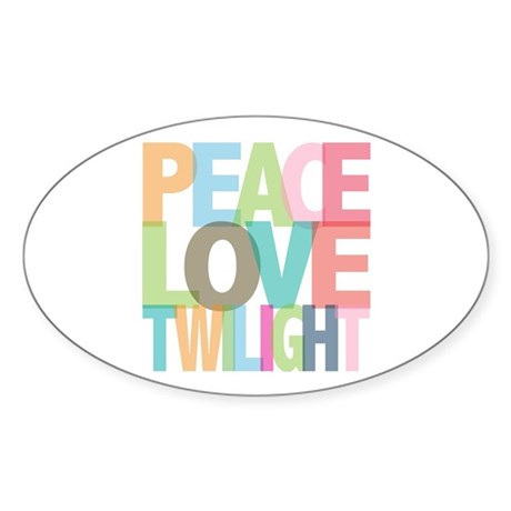 Peace Love Twilight Oval Sticker