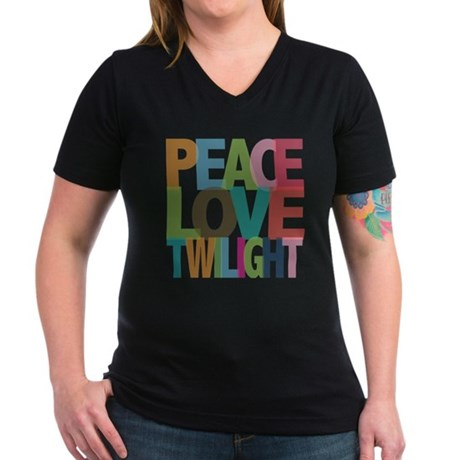 Peace Love Twilight Women's V-Neck Dark T-Shirt