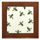 Green Bee Framed Tile