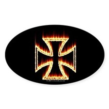 Flames Iron Cross Oval Stickers