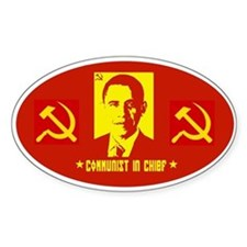 Anti Obama Communist Oval Decal