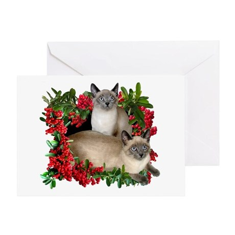 Siamese Cats in Berries Greeting Card