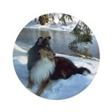 Winter River Sheltie Ornament (Round)